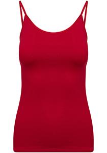 Pure Color dames spaghetti top (1-pack), hemdje met smalle verstelbare bandjes, donkerrood