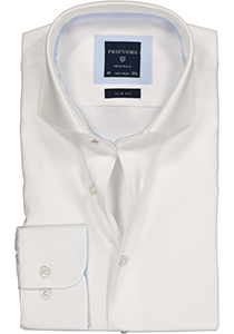 Profuomo Originale slim fit overhemd, 2-ply twill, wit (contrast)