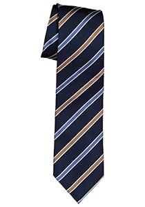 Michaelis  stropdas, zijde, blauw met camel en wit gestreept