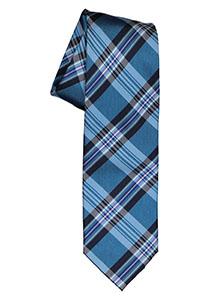Michaelis  stropdas, zijde, blauw met turquoise en wit geruit