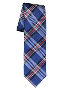 Michaelis  stropdas, zijde, blauw met rood en wit geruit