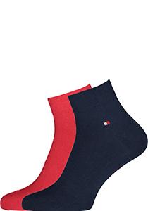 Tommy Hilfiger Quarter Socks (2-pack), herensokken katoen kort, Tommy original rood en blauw