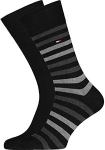 Tommy Hilfiger herensokken (2-pack), duo stripe sock zwart-grijs gestreept