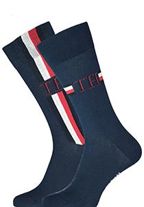 Tommy Hilfiger Iconic Logo Stripe Socks (2-pack), herensokken katoen, blauw