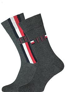 Tommy Hilfiger Iconic Logo Stripe Socks (2-pack), herensokken katoen, grijs
