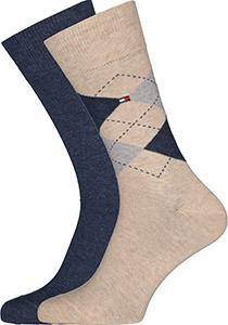Tommy Hilfiger Check Socks (2-pack), herensokken katoen, geruit en uni, beige met jeansblauw