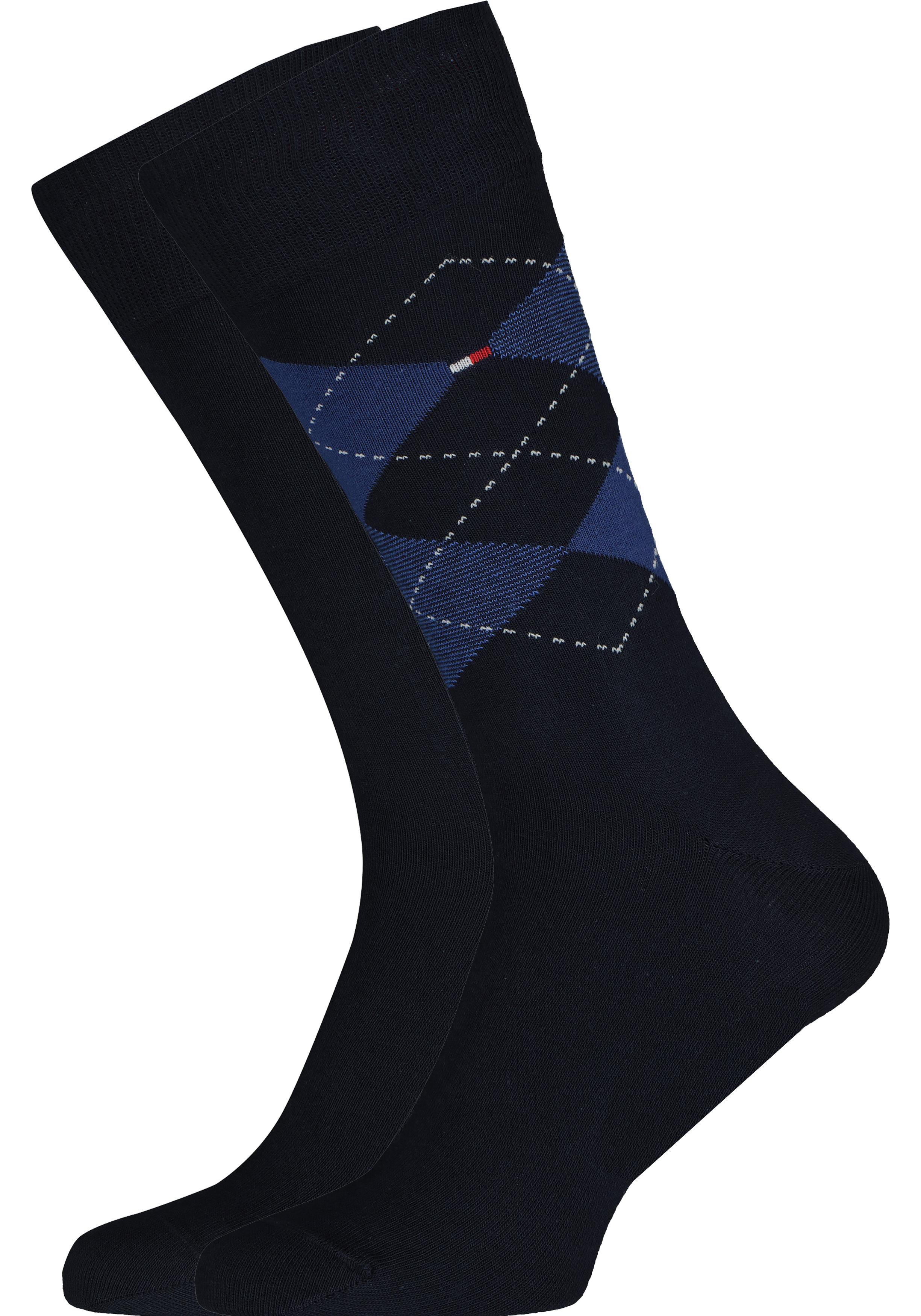 Tommy Hilfiger Check Socks (2-pack), herensokken katoen, geruit en uni, blauw