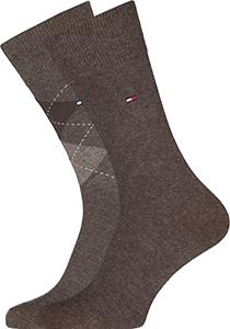 Tommy Hilfiger Check Socks (2-pack), herensokken katoen, geruit en uni, bruin