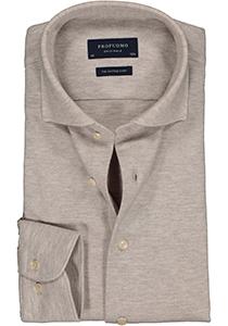 Profuomo Slim Fit jersey overhemd, beige melange knitted shirt
