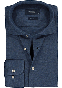 Profuomo Originale slim fit jersey overhemd, knitted shirt pique, jeansblauw melange