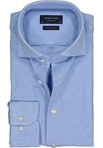 Profuomo Slim Fit jersey overhemd, lichtblauw melange knitted shirt