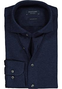 Profuomo Originale slim fit jersey overhemd, knitted shirt pique, navy melange