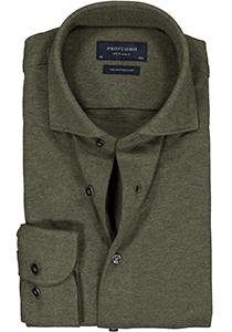 Profuomo Originale slim fit jersey overhemd, knitted shirt pique, army groen melange
