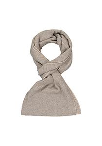 Profuomo heren sjaal, gebreid wolmengsel met kasjmier, beige met grijs structuur dessin