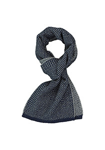 Profuomo heren sjaal, gebreid wolmengsel met zijde, donkerblauw met grijs structuur dessin