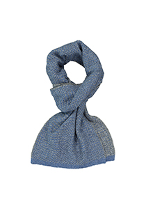 Profuomo heren sjaal, gebreid wolmengsel met zijde, jeansblauw met grijs structuur dessin