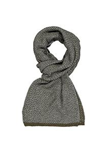 Profuomo heren sjaal, gebreid wolmengsel met zijde, olijfgroen met grijs structuur dessin