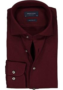 Profuomo Originale slim fit jersey overhemd, knitted shirt pique, bordeaux rood melange
