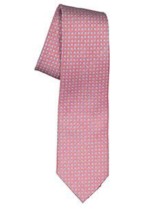Michaelis  stropdas, zijde, rood met lichtblauw en wit dessin