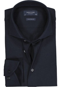 Profuomo Slim Fit jersey overhemd, navy melange knitted shirt