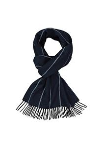 Profuomo heren sjaal, geweven kasjmier in vissengraad, blauw met wit gestreept