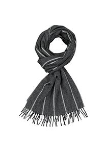 Profuomo heren sjaal, geweven kasjmier in vissengraad, grijs met wit gestreept