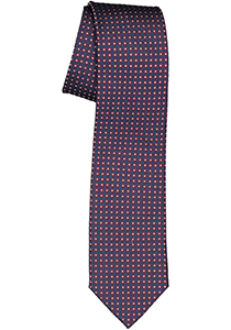 Michaelis  stropdas, zijde, blauw met bordeaux rood en wit dessin