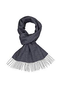 Profuomo heren sjaal, geweven wol met kasjmier, blauw met grijs vissengraad (tweed)