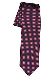 Michaelis  stropdas, zijde, blauw met rood en wit dessin