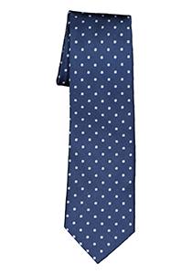 Michaelis  stropdas, zijde, donker- met licht blauw en wit dessin