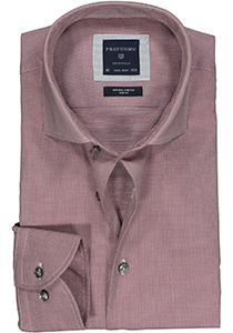 Profuomo Slim Fit  overhemd, donkerrood structuur (contrast)