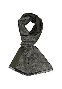 Michaelis  heren sjaal, olijfgroen met grijs dessin