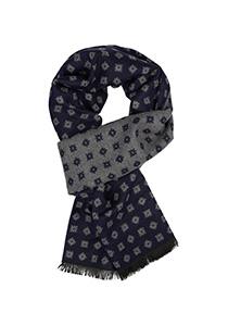 Michaelis  heren sjaal, blauw met grijs dessin