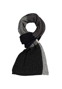Profuomo heren sjaal, gebreid wolmengsel, grijs, blauw en bruin gestreept