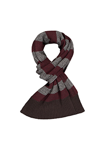 Profuomo heren sjaal, gebreid wolmengsel, bruin met bordeaux rood en wit gestreept