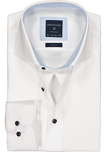 Profuomo Slim Fit  overhemd, wit Oxford (contrast)