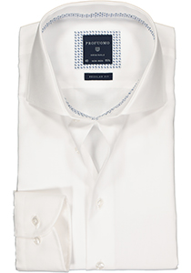 Profuomo Slim Fit mouwlengte 7 overhemd, wit twill (contrast)