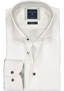 Profuomo Slim Fit  overhemd, wit structuur (contrast)