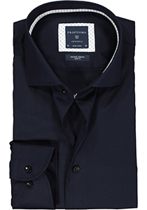 Profuomo Slim Fit  overhemd, donkerblauw twill (contrast)