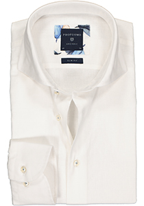 Profuomo Slim Fit  overhemd, wit linnen/katoen Oxford