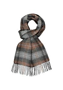 Profuomo heren sjaal, geweven wol, grijs met zwart en camel geruit