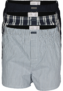 Calvin Klein Wijde Boxers (3-pack), blauw gestreept en geruit
