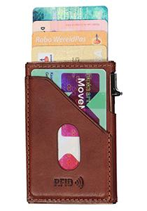 Tony Perotti pasjes RFID portemonnee (6 pasjes) met buitenvak, bruin leer