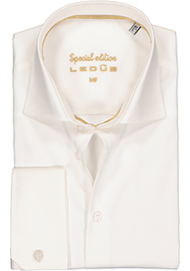 Ledub Modern Fit overhemd, dubbele manchet, beige twill
