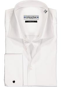 Ledub Modern Fit overhemd, dubbele manchet, wit twill