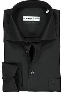 Ledub Modern Fit overhemd, zwart twill
