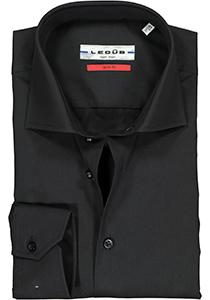 Ledub Slim Fit overhemd, zwart twill