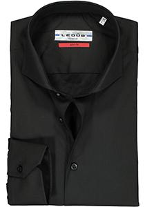Ledub Slim Fit overhemd, zwart