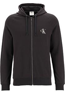 Calvin Klein CK ONE lounge hoodie, heren sweatvest met rits en capuchon, middeldik, zwart