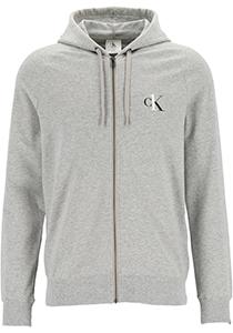 Calvin Klein CK ONE lounge hoodie, heren sweatvest met rits en capuchon, middeldik, grijs melange